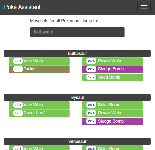 Pokemon Go Move Sets - Poke Assistant